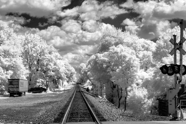 Fine art conceptual photography of roadside America, black and white infrared