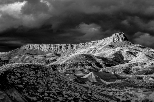 Fine art photography of mountain landscapes, black and white infrared