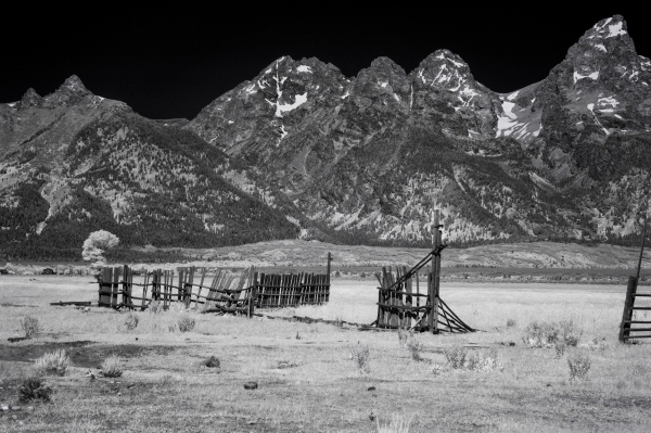 Fine art conceptual photography of mountain landscapes, black and white infrared