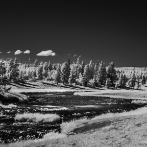 Fine art river side photography, black and white infrared