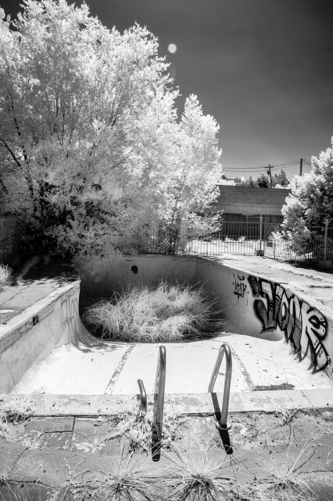Fine art photography of roadside America, black and white infrared